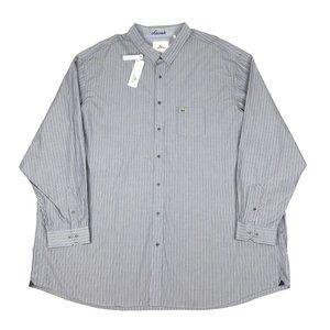 Lacoste 5XLT Striped Long Sleeve Gray Dress Shirt